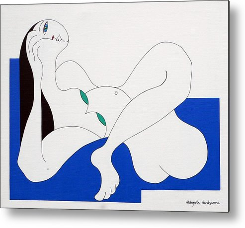 Women Green Bleu White Special Metal Print featuring the painting Position Women by Hildegarde Handsaeme