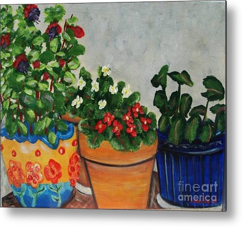 Ceramic Pots Metal Print featuring the painting Pots Showing Off by Laurie Morgan