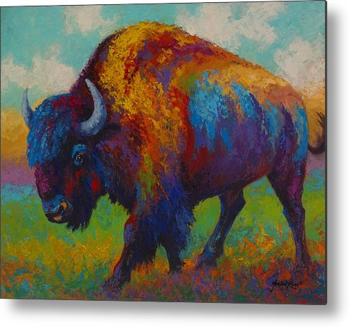Bison Metal Print featuring the painting Prairie Muse - Bison by Marion Rose