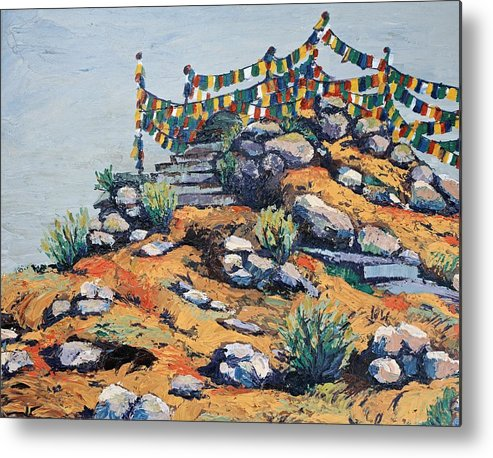 Buddhist Metal Print featuring the painting Prayer Flags In The Mist by Art Nomad Sandra Hansen