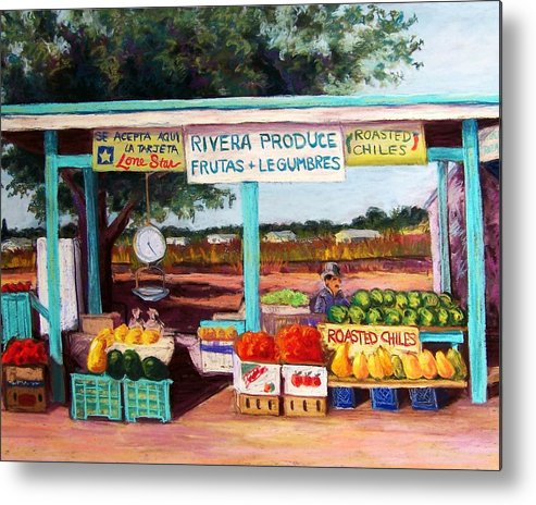 Cityscape Metal Print featuring the pastel Produce Stand by Candy Mayer