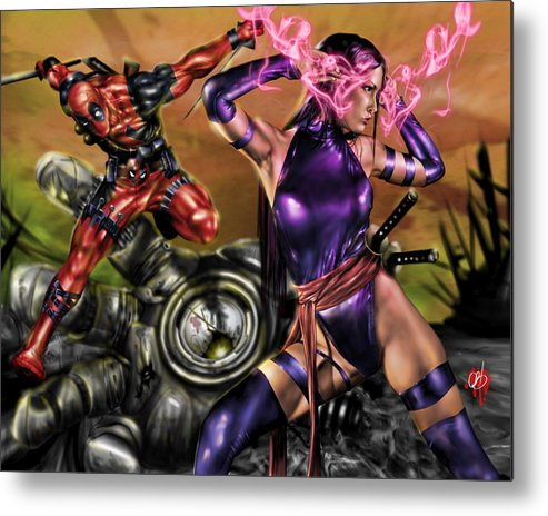 Marvel Metal Print featuring the painting Psylocke And Deadpool by Pete Tapang