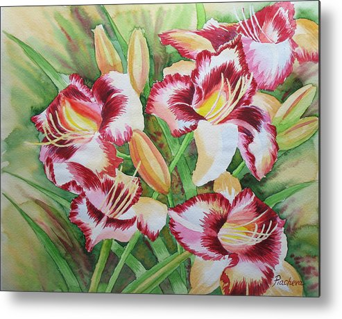 Watercolor Metal Print featuring the painting Purple Lilies.2007 by Natalia Piacheva