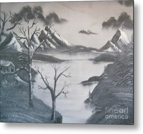 Black & White Landscape Metal Print featuring the painting Quit Time by John Nickerson