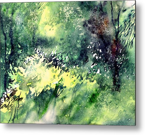 Landscape Watercolor Nature Greenery Rain Metal Print featuring the painting Rain Gloss by Anil Nene