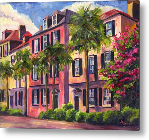 Rainbow Row Metal Print featuring the painting Rainbow Row Charleston Sc by Jeff Pittman