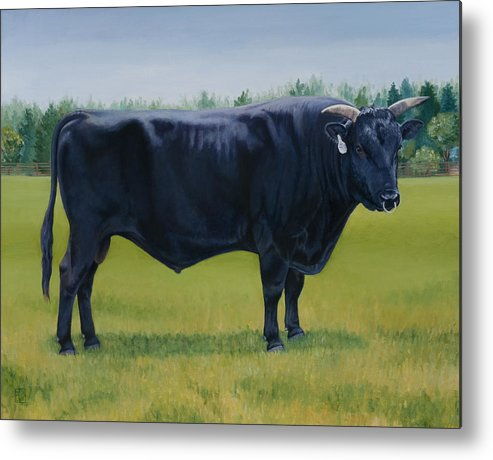 Bull Metal Print featuring the painting Ralphs Bull by Stacey Neumiller