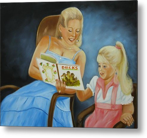 Portraits Metal Print featuring the painting Reading With Gramma by Joni McPherson
