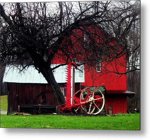 Red Barn And Horse Drawn Sickle Bar Mower Metal Print