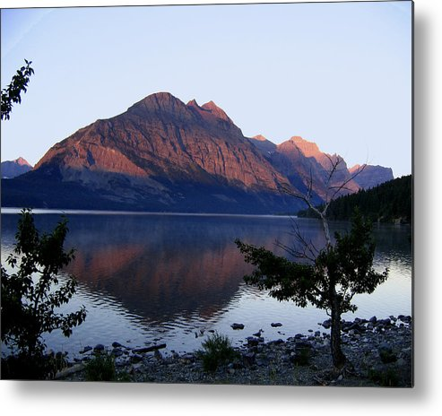 Reflections St. Mary Lake Metal Print featuring the photograph Red Bluffs by Diane Wallace