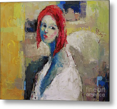 Oil Metal Print featuring the painting Red Haired Girl by Becky Kim