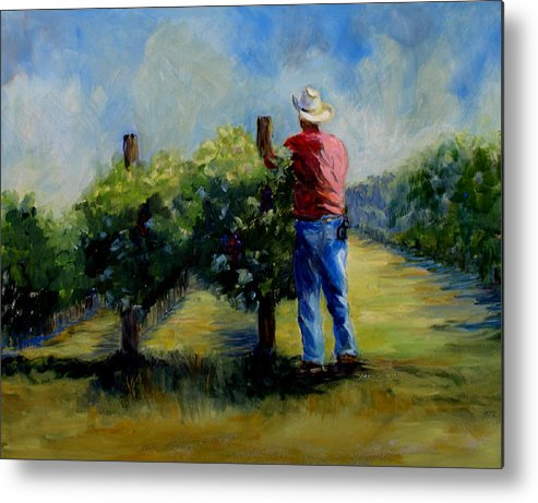 Landscape And Figure Metal Print featuring the painting Red Mountian Worker by Joanne Massingale