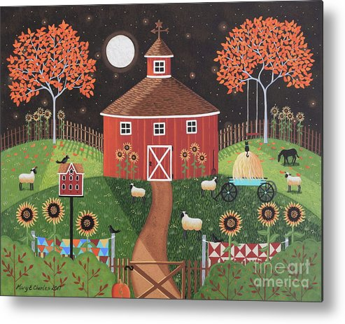 Red Round Barn Metal Print featuring the painting Red Round Barn by Mary Charles