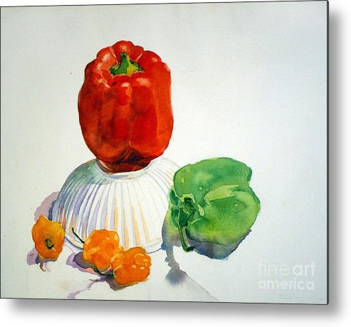 Peppers Metal Print featuring the painting Red Rules by Elizabeth Carr