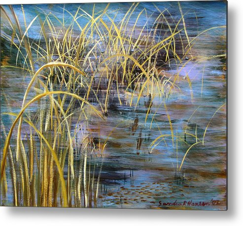 Reeds Metal Print featuring the painting Reeds In The Water by Art Nomad Sandra Hansen