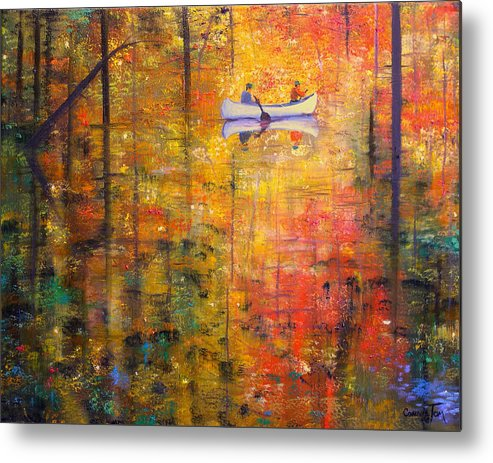 Connie Tom Metal Print featuring the painting Reflections Of Autumn X by Connie Tom
