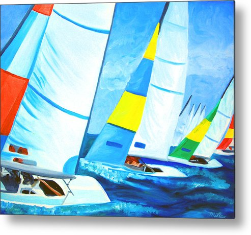 Sailing Metal Print featuring the painting Regatta by Michael Lee