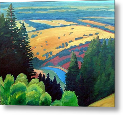 Rerservoir Metal Print featuring the painting Reservoir Below by Gary Coleman