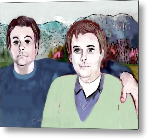 Art.paint Metal Print featuring the painting Retrato Mis Hijos Andres - Alejandro by Carlos Camus