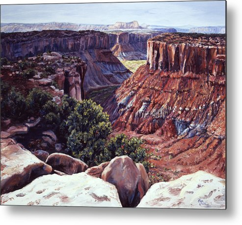 Landscape Metal Print featuring the painting Rimrocked No Way Down by Page Holland