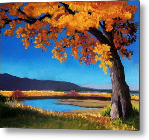 Landscape Metal Print featuring the pastel River Cottonwood by Candy Mayer