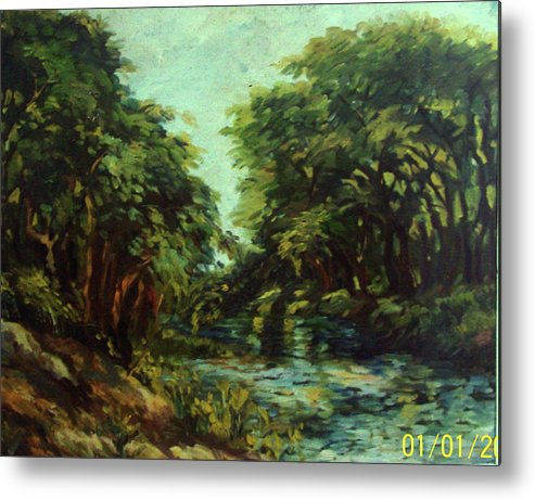 Nature Metal Print featuring the painting River by Kishore Ghosh