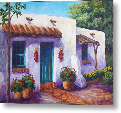 Landscape Metal Print featuring the painting Riverbend Adobe by Candy Mayer