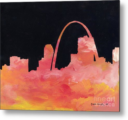 Cityscape Metal Print featuring the painting Riverfront by Joseph A Langley