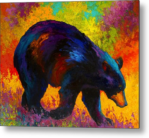 Bear Metal Print featuring the painting Roaming - Black Bear by Marion Rose