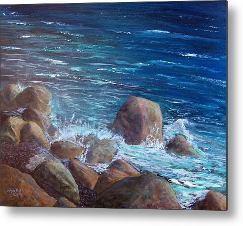 Seascape Metal Print featuring the painting Rocks And Rolls by Tony Rodriguez