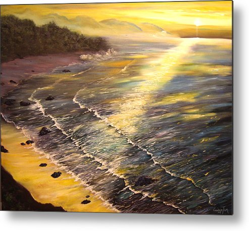 A Painting A Day Metal Print featuring the painting Romantic Sunset Surf by Connie Tom