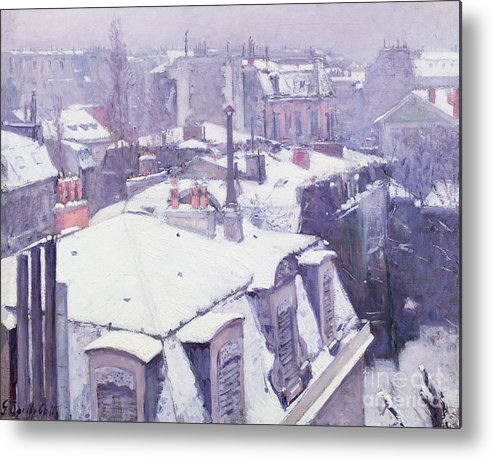 Snow Metal Print featuring the painting Roofs Under Snow by Gustave Caillebotte