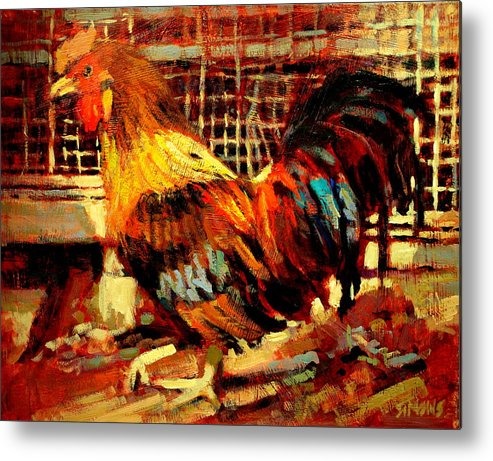 Rooster Metal Print featuring the painting Rooster by Brian Simons