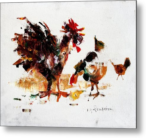 Rooster Metal Print featuring the painting Rooster by Mario Zampedroni
