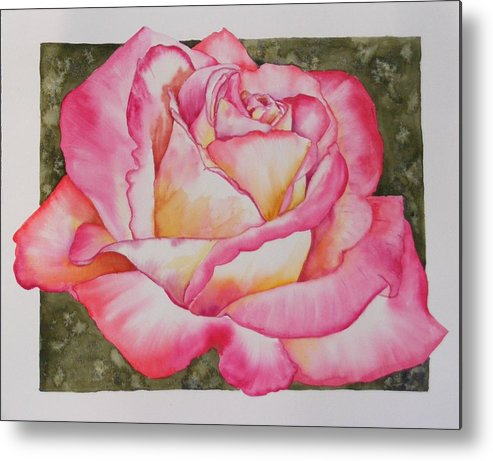 Red Metal Print featuring the painting Rose 4 by Diane Ziemski