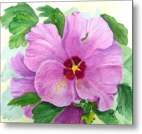Watercolour Metal Print featuring the painting Rose Of Sharon by Peggy King