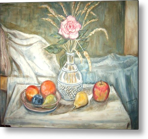 Still Life Fruit Rose Bottle Flowers Metal Print featuring the painting Rose With Fruit by Joseph Sandora Jr