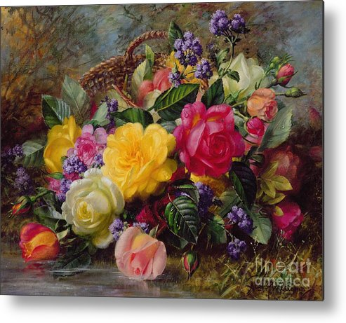 Rose; Flower; Reflection; Flowers; Pink; Yellow; White; Roses; Basket; Water; Grass; Grassy; Grassy Bank; Pond Metal Print featuring the painting Roses By A Pond On A Grassy Bank by Albert Williams