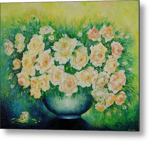 Painting Metal Print featuring the painting Roses. by Evgenia Davidov