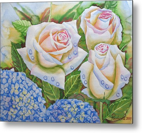 Flowers Metal Print featuring the painting Roses.2007 by Natalia Piacheva
