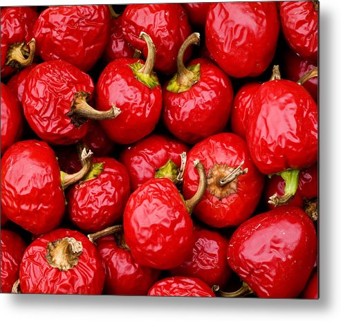 Food Metal Print featuring the photograph Round Red Peppers by John Gilroy