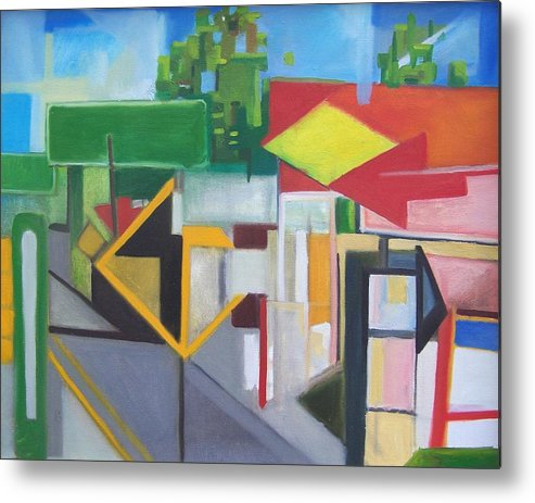 Suburban Metal Print featuring the painting Route Forty Six Ft.lee Leonia by Ron Erickson
