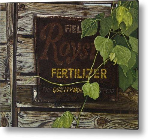 Landscape Metal Print featuring the painting Royston Fertilizer Sign by Peter Muzyka