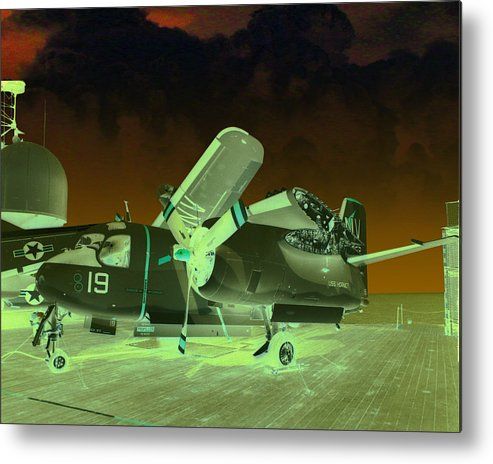 Airplane Metal Print featuring the digital art S2 On Deck by Mike Ray