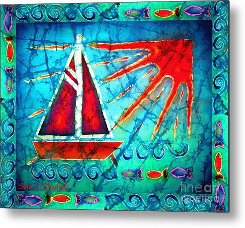 Sailboat Metal Print featuring the painting Sailboat In The Sun by Sue Duda