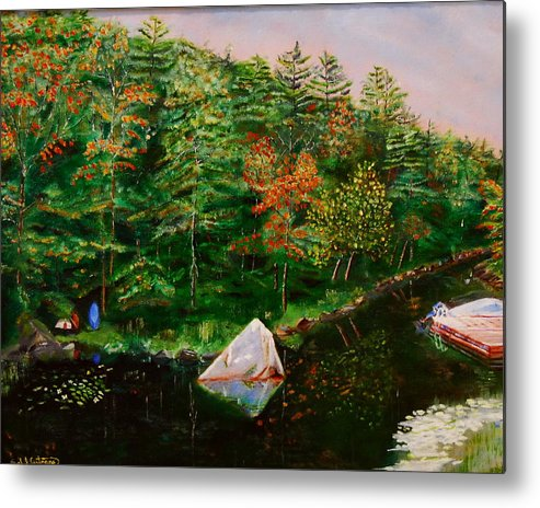 Landscape Metal Print featuring the painting Sailing Rock by Sal Cutrara