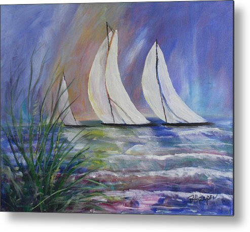 Sailing Metal Print featuring the painting Sailing The Windy Sea by Barbara Harper
