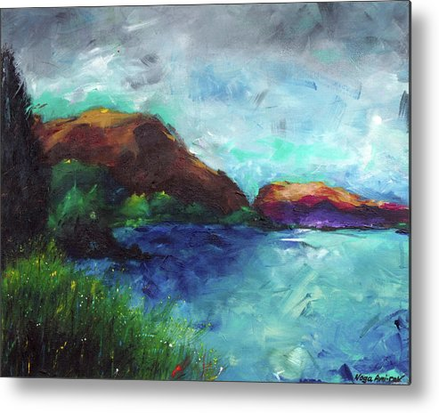 Sea Of Galilee Metal Print featuring the painting Sea Of Galilee And Mt Arbel by Noga Ami-rav