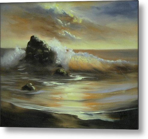 Seascape Metal Print featuring the painting Sea Of Gold by Joni McPherson