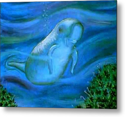 A Seacow-manatee- Marine Life Metal Print featuring the painting Seacow Named Smiley by Tanna Lee M Wells